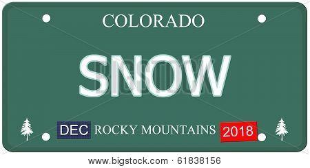 Snow Colorado License Plate