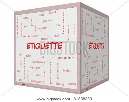 Etiquette Word Cloud Concept On A 3D Cube Whiteboard
