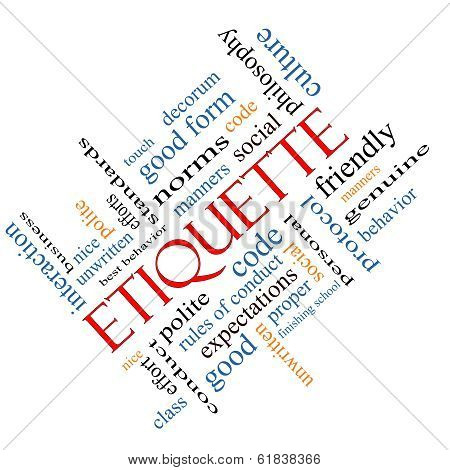 Etiquette Word Cloud Concept Angled