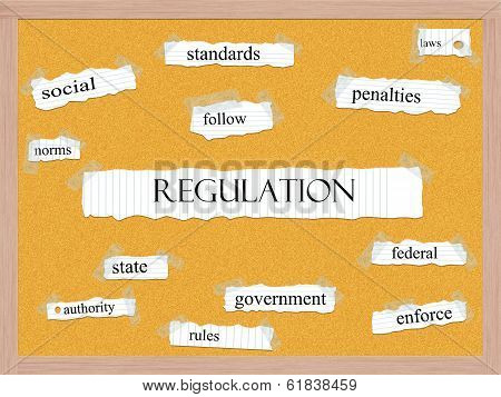 Regulation Corkboard Word Concept
