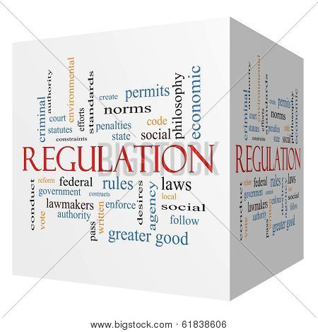 Regulation 3D Cube Word Cloud Concept