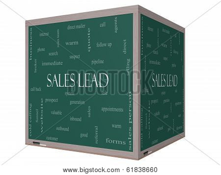 Sales Lead Word Cloud Concept On A 3D Cube Blackboard