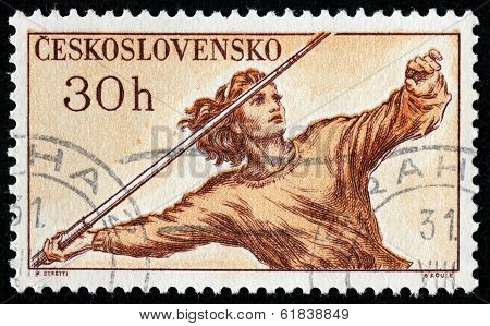 Javelin Throwing Stamp
