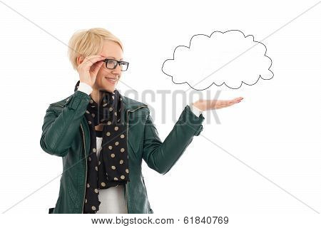 Ordinary Woman In Casual Outfit With Empty Cloud