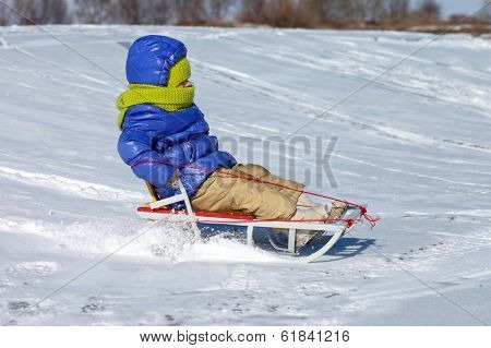 Little Girl On Sledge
