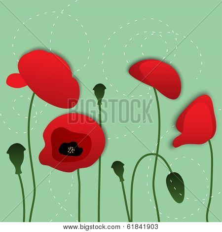 Vector Paper Poppy Flowers, Floral Background