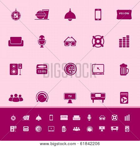 Home Theater Color Icons On Pink Background