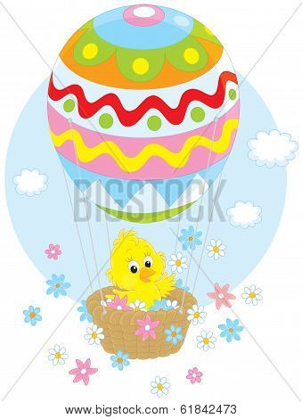 Easter Chick flying in a balloon