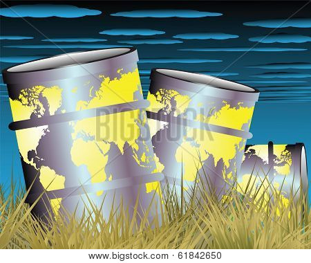 Barrels Of Oil On The Dry Grass