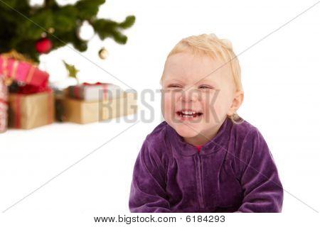 Christmas - Cute Little Girl Smiling On White
