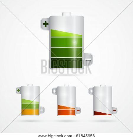 Battery Icon. Battery Life Set Isolated on White Background.