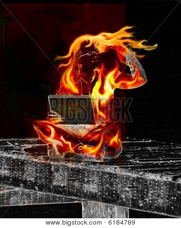 Information Overload Woman On Fire With Laptop