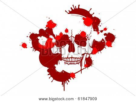 Blood smudges creating a skull silhouette