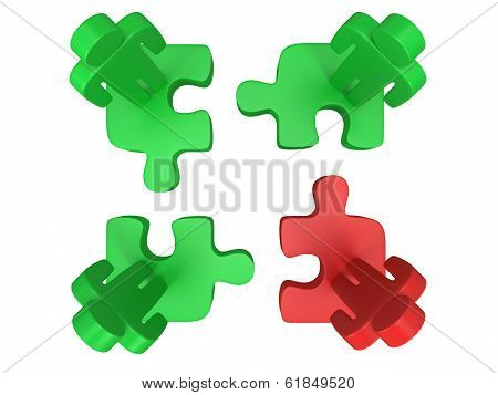 3d puzzle and people on white background.
