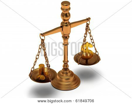 Scales justice with coins and dollar sign
