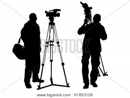 Journalist and tripod of video camera