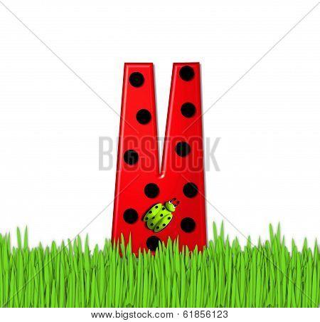 Alphabet Lady Bug Red V
