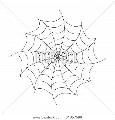 Vector Black Cobweb Isolated on White Background