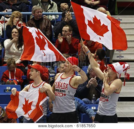 Curling Canada Fans Flag Waving Cheer