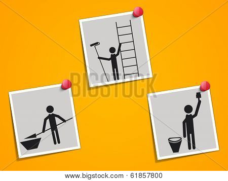 Happy Labor Day celebrations sticker, tag or label with silhouette of workers on yellow background.