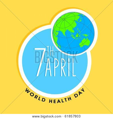 World health day sticker, tag or label with globe and stylish text on yellow background.