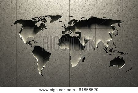 3D World Map molded into solid concrete blocked wall (Elements in this image derived from NASA earth maps)