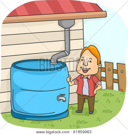 Illustration of a Man Collecting Rainwater from the Gutter
