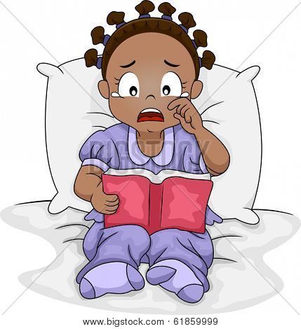 Illustration of a Little Black Girl Crying Over the Book She is Reading
