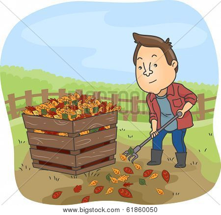 Illustration of a Man Dumping Dry Leaves in a Compost Bin