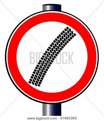 Tyre Mark Traffic Sign