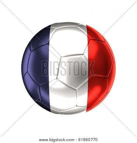 3d soccer ball with france  flag isolated on white