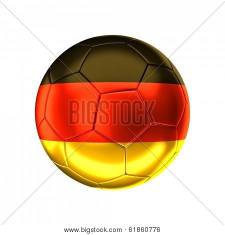 3d soccer ball with german flag isolated on white