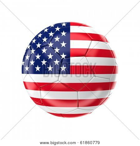 3d soccer ball with usa flag