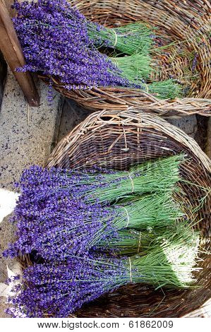 Lavender Bunches In Woven Baskets.