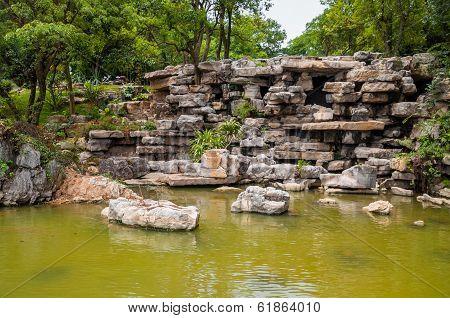 Asian Rocky Pond Park Garden
