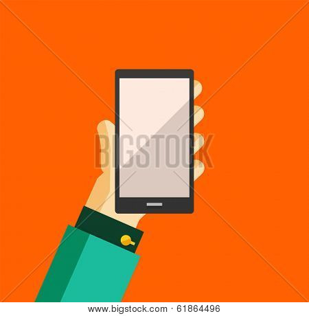 Businessman's hand holding smart phone trendy flat design