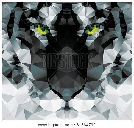Geometric polygon white tiger head, triangle pattern design, vector illustration