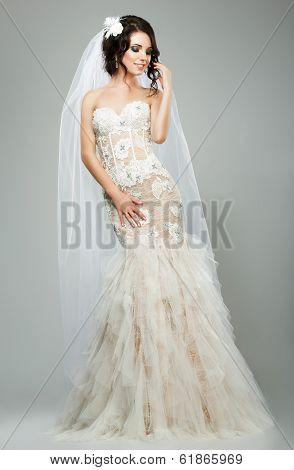 Wedding. Romantic Sensual Bride Fashion Model Wearing Sleeveless White Bridal Dress
