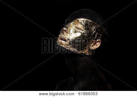 Fiction. Imagination. Futuristic Creature In Crazy Mystic Mask And Gilt
