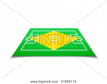 Green soccer field, brazil flag