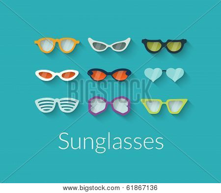 Flat set of vector sunglasses