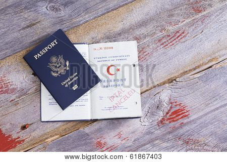 An American And Turkish Passport