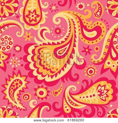 Vector pink and yellow decorative seamless pattern background with abstract floral ornament
