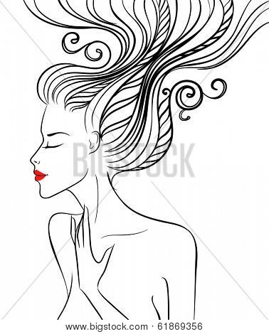 Silhouette of a beautiful girl with swirl hair