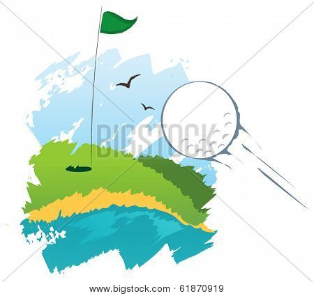 Stylized golf field with flying ball