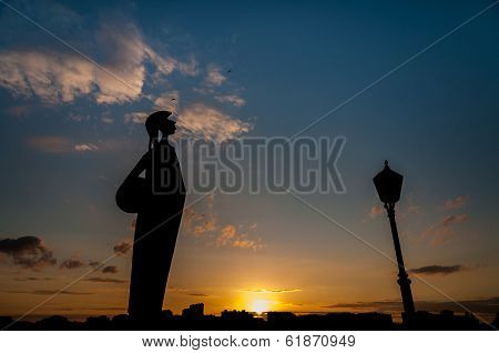 Silhouette Of The Minerva Statue In Antwerp, Belgium