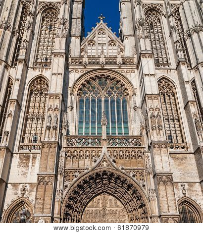 Details Medieval Cathedral Of Our Lady In Antwerp, Belgium