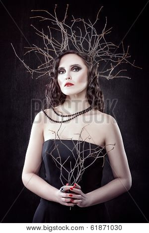 Girl With Branches On The Head.