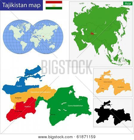 Map of administrative divisions of Tajikistan