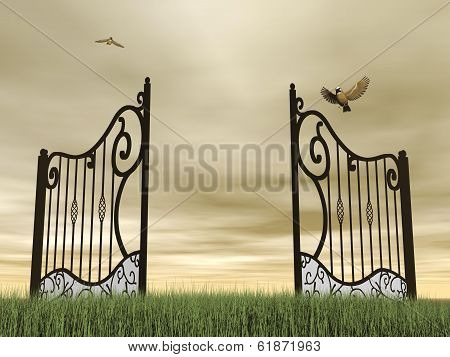 Open gate in nature - 3D render